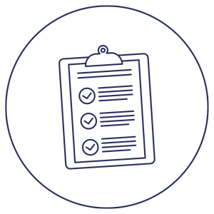 Icon depicting a clipboard with writing and check marks