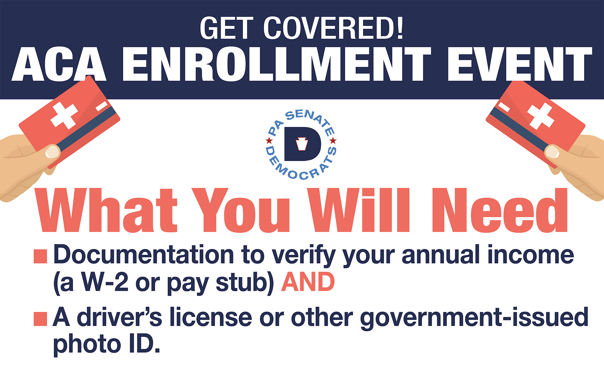 Flyer for the ACA Enrollment Event reminding attendees to bring documentation to verify their income (a W-2 or pay stub) and a driver's license or other government-issued photo identification.